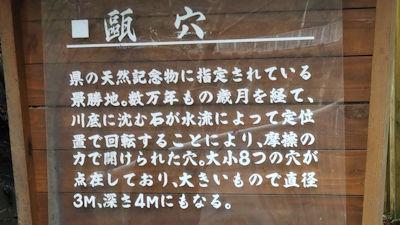 5/1 四万川 甌穴の説明看板