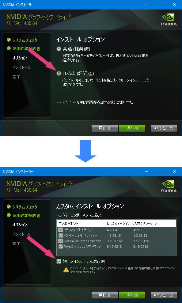 NVIDIAのインストールオプション