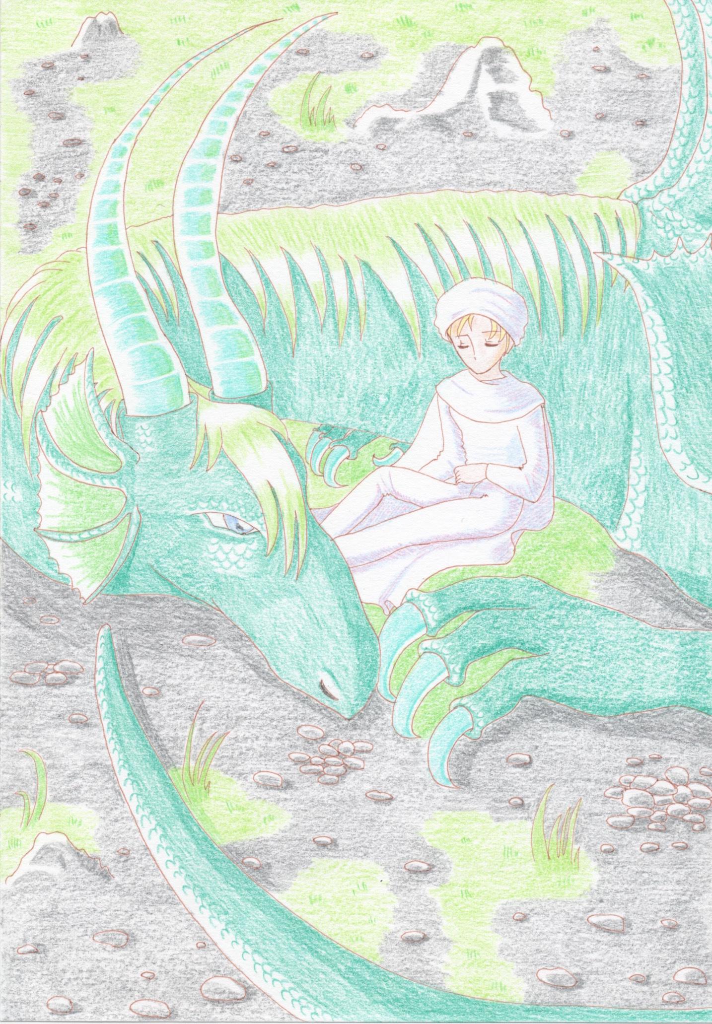傷ついた旅人に寄り添う竜