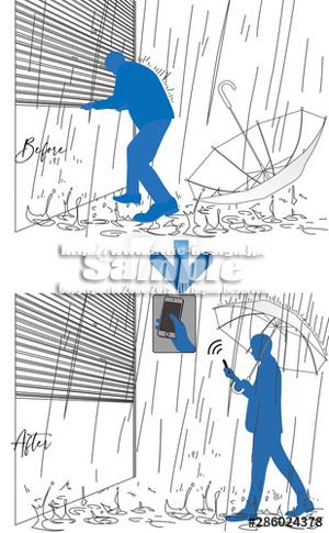イラスト ガレージシャッター雨とシルエット