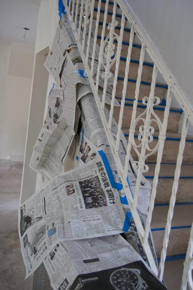 階段レール養生