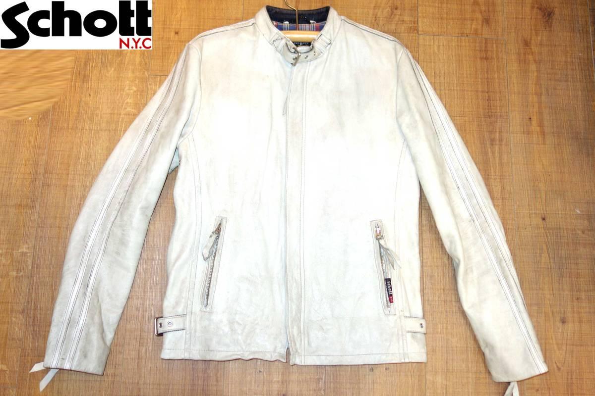ショットSCHOTTライダースジャケットクラシックレーサーM白CLASSICRACER3181010