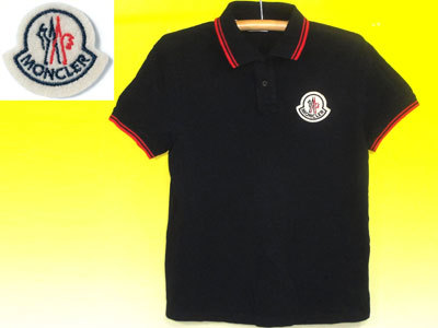 モンクレールMONCLERポロシャツ黒×胸ワッペン