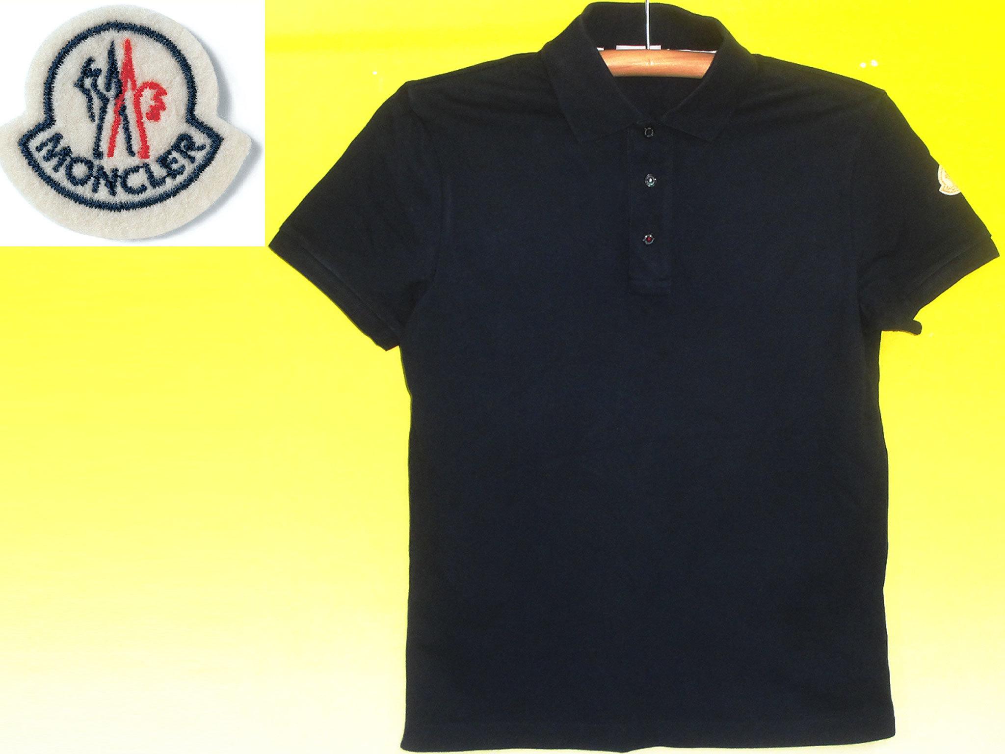 モンクレールMONCLERポロシャツ黒×袖ワッペン
