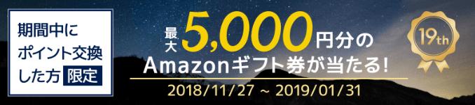 Amazonギフト券が抽選で当たる