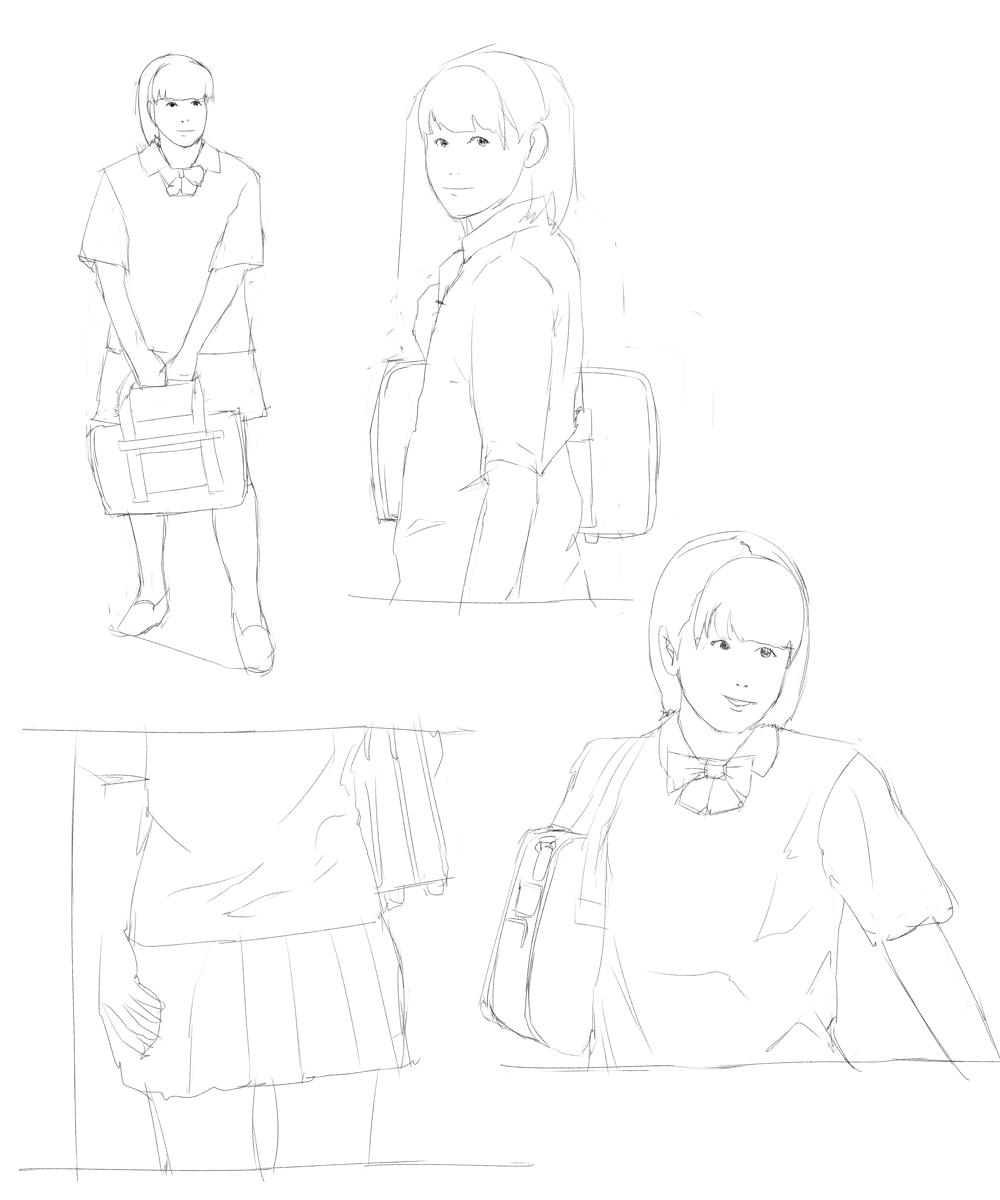 制服女子を描く スケッチ その1
