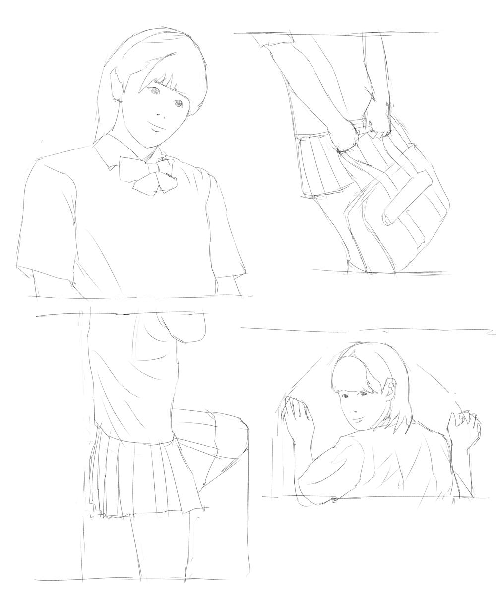 制服女子を描く スケッチ その2