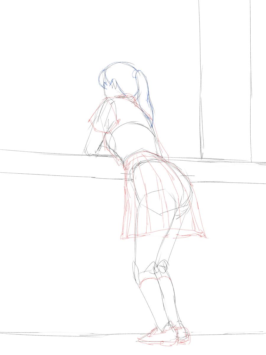 制服女子を描く スケッチ イメージから