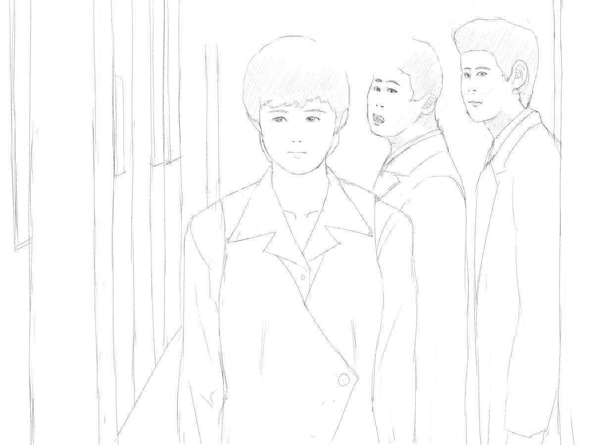 学校ドラマから人物を描く スーツ姿の男性教師 スケッチ