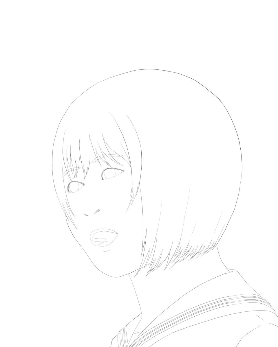 女性の顔を描く 線画化