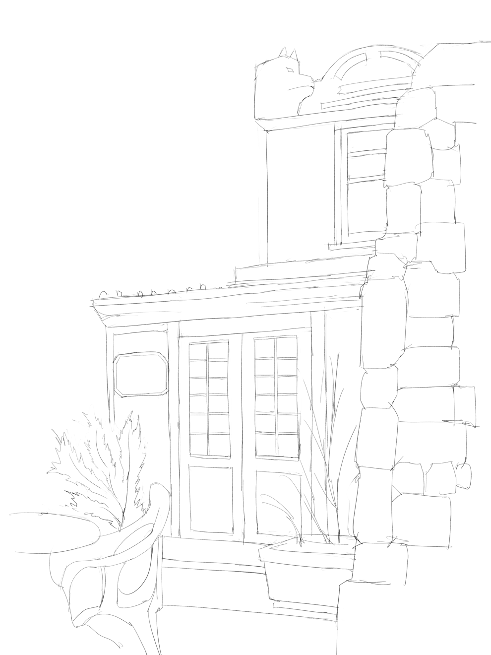 水彩画 プロの裏ワザ2の遠景樹木の描き方 スケッチ