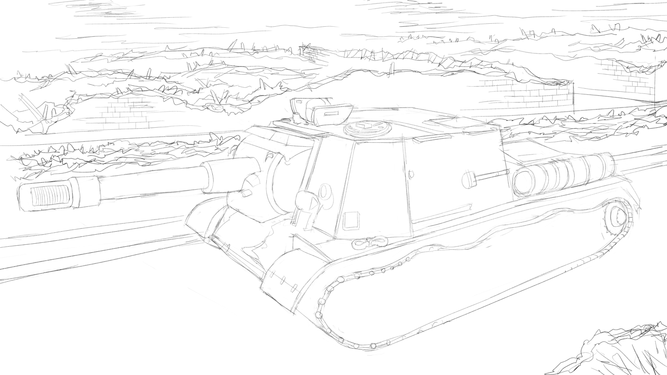 JSU-152重自走砲の写真のスケッチに廃墟を描き足す