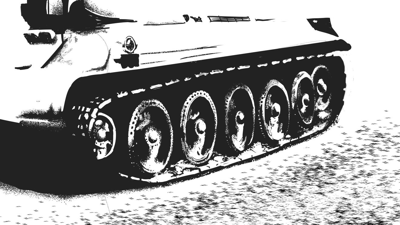 T-34/76戦車のプラモの二値化した写真をスケッチ
