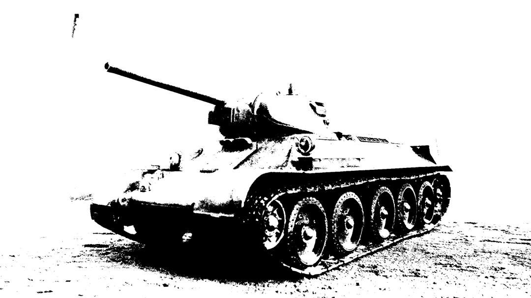 T-34/76戦車のプラモの写真 二値化した