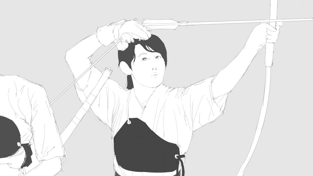 弓道女子をスケッチ