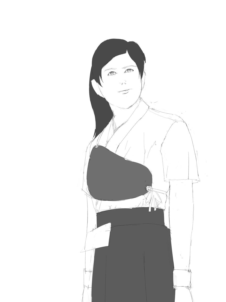 弓道女子を描く オリジナルで