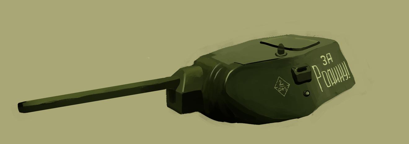 T-34/76戦車のプラモの写真を面で塗ってスケッチ