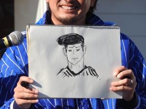 三浦大輔投手コーチ(三嶋一輝・画)