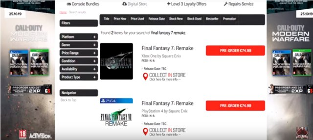 FF7 Remake Xbox One Version Confirmed By Multiple Retailers