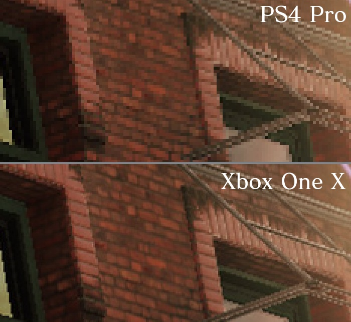 PS4 ProチェッカーボードとXbox One Xネイティブ4Kの比較