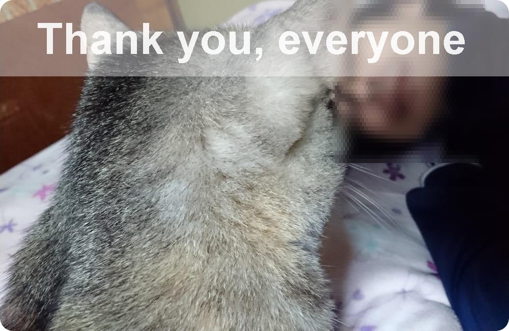 愛猫と自分の画像