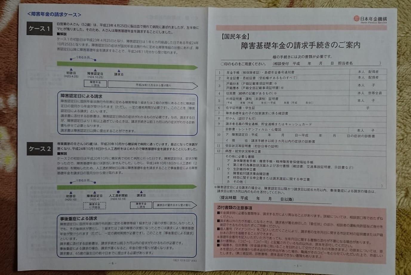 障害基礎年金請求手続き書類1