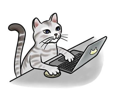 猫がパソコンをしているイラスト画像