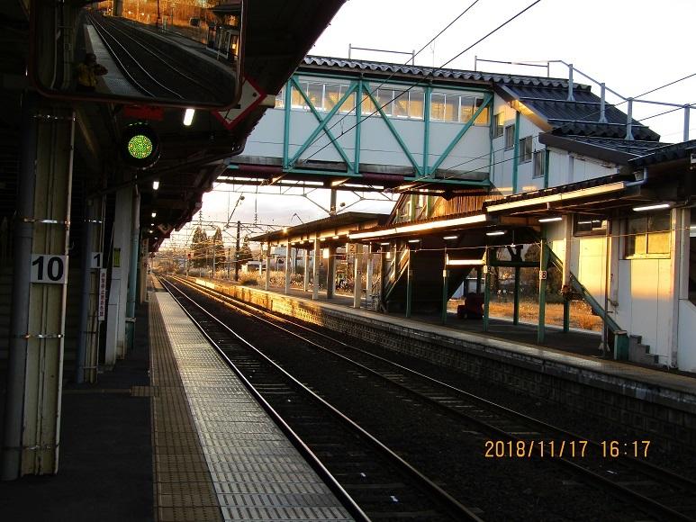 夕暮れの鷹ノ巣駅1