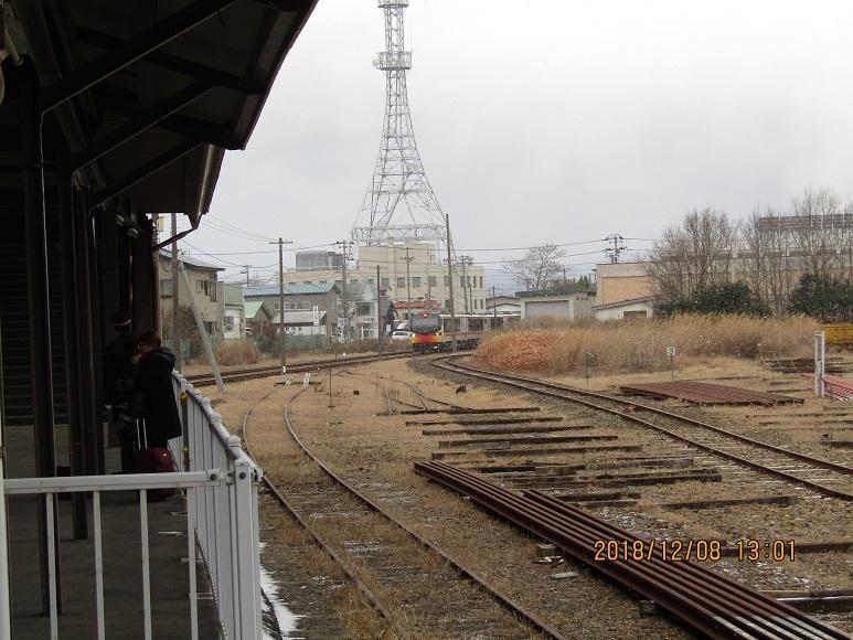 能代駅へクマゲラ