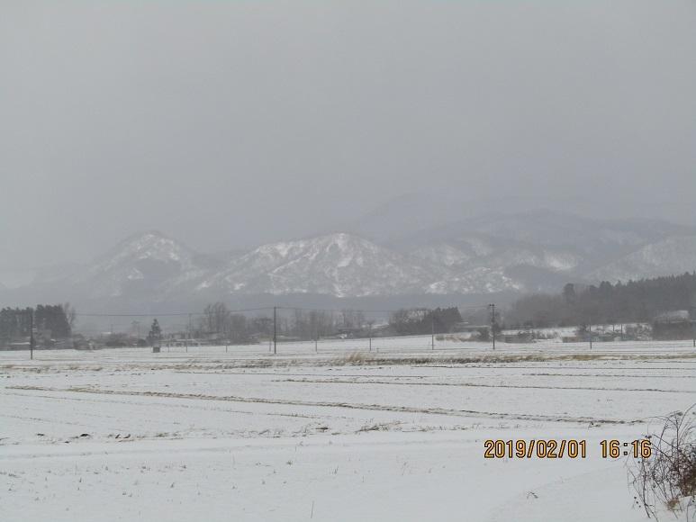 雪の田んぼと山2