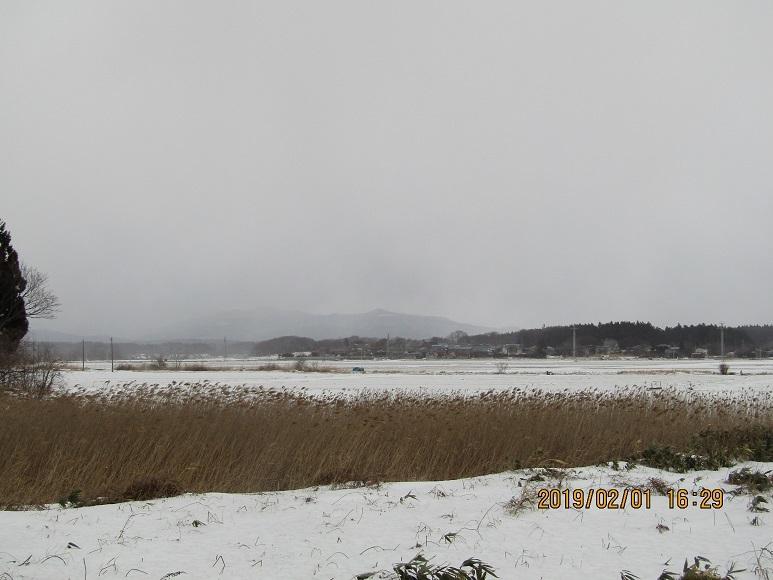 雪の田んぼと山3