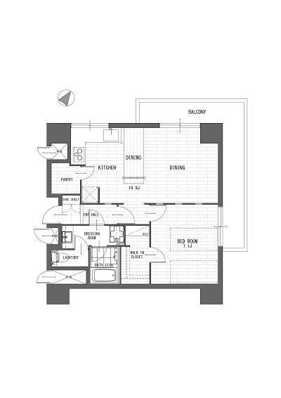 マンション島津山706号室400 平面図