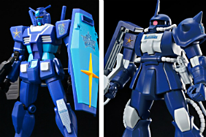 「HG RX-78-2 ガンダム(ベイスターズVer.)」、「HG MS-06S ザクII(ベイスターズVer.)」t