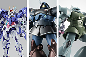 「METAL BUILD ダブルオーライザー デザイナーズブルー Ver.」、「ROBOT魂 <SIDE MS>MS-09R リック・ドム ver. A.N.I.M.E. ~リアルタイプカラー~」、「ROBOT魂 <SIDE MS>MS-14A 量産型ゲルググ ver. A.N.I.M.E. ~ファーストタッチ3500~」t