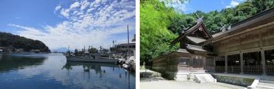 美保関漁港と大山 美保神社