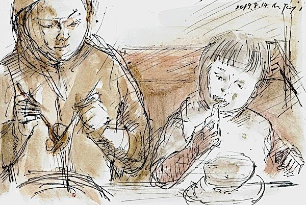 「食べる子」水彩、はがき大、20190814