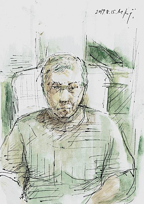 「Self-portrait」ボールペン、水彩、はがき大、20190815