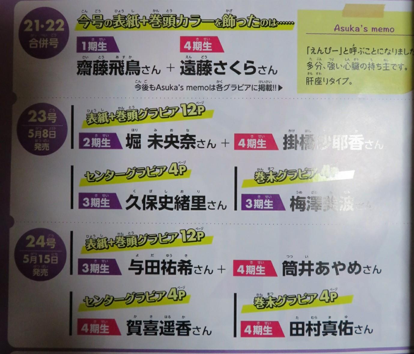 週刊少年マガジン 表紙 堀未央奈 掛橋沙耶香