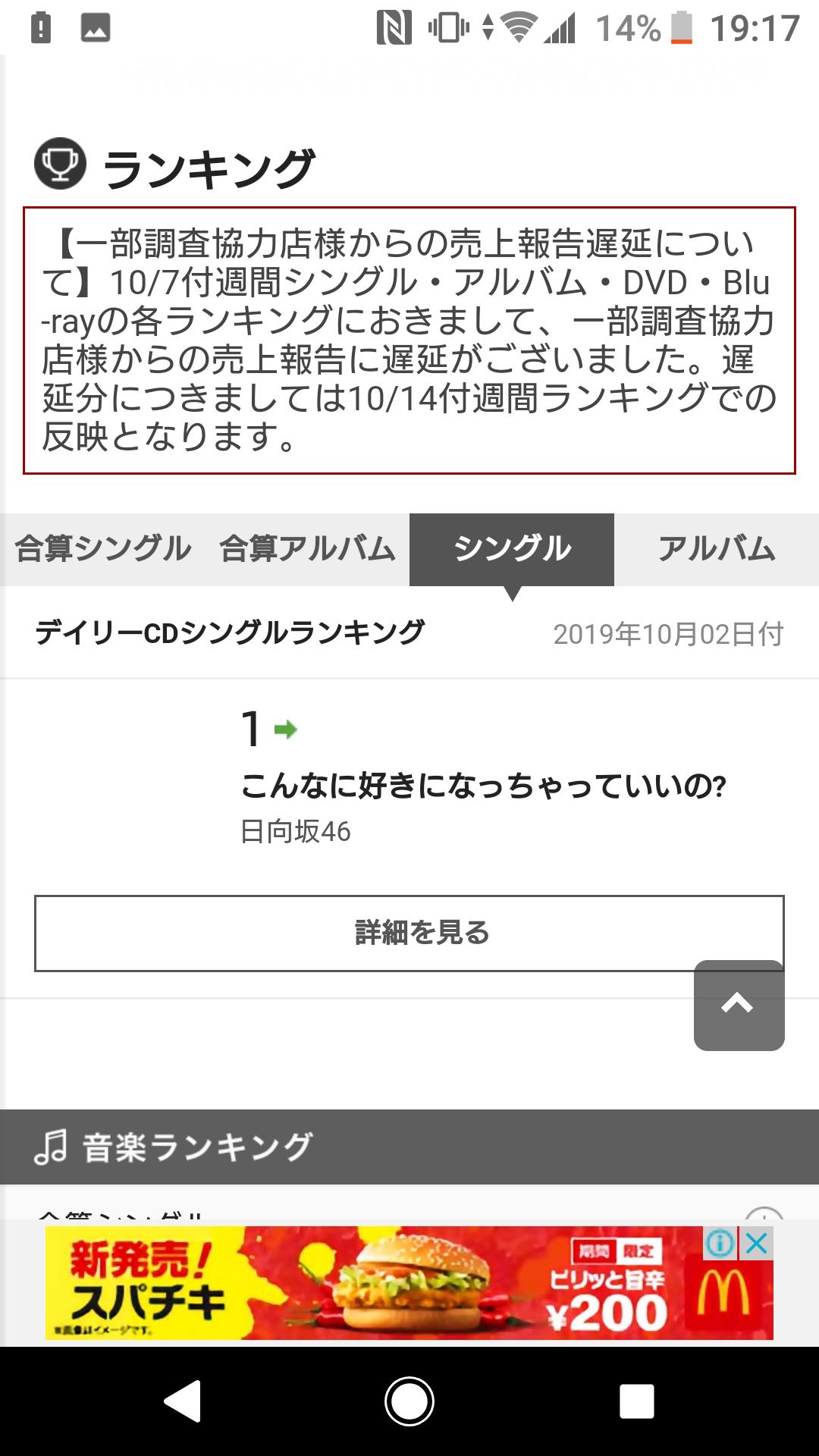 日向坂46 3rdシングル「ドレミソラシド」2日目売上