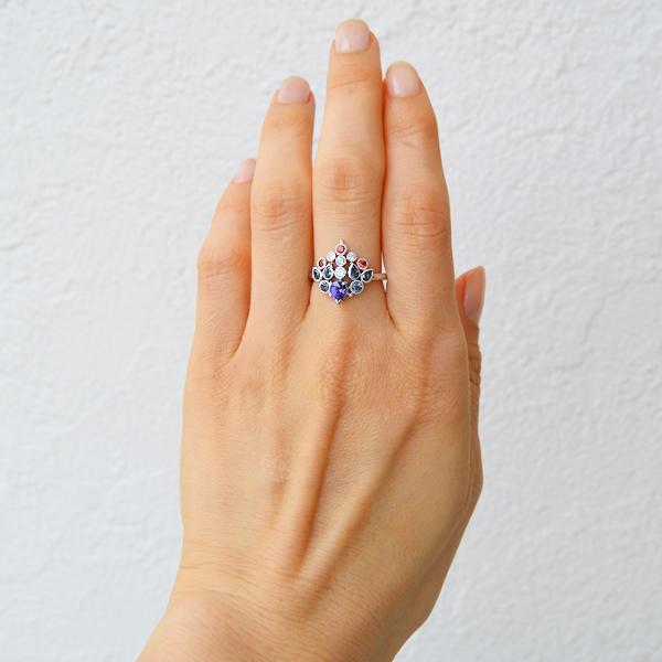 Pt900製ヴァイオレットサファイア・ダイアモンド・カラーチェンジサファイア・カラーチェンジガーネット・オレンジサファイアリング指輪