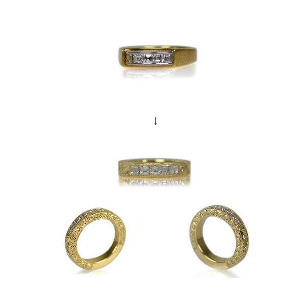 K18YG製イエローゴールド彫りリング指輪
