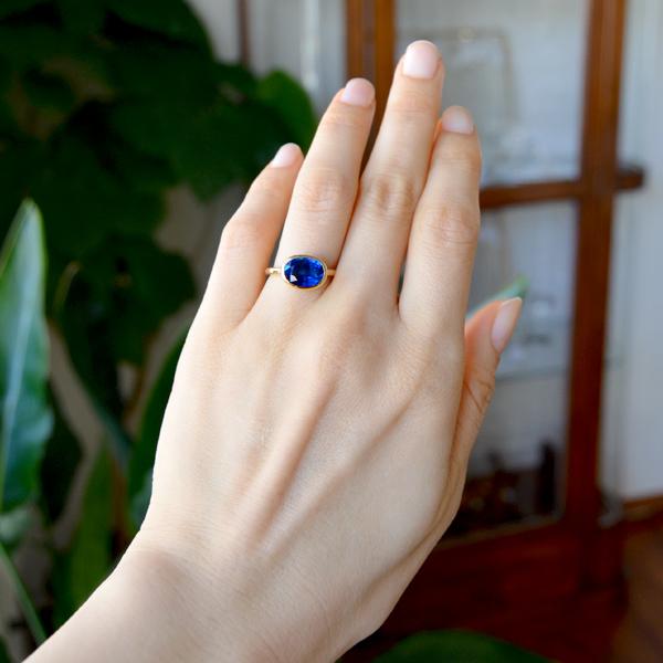 K18YG製Pt900製イエローゴールドカイヤナイトリング指輪.