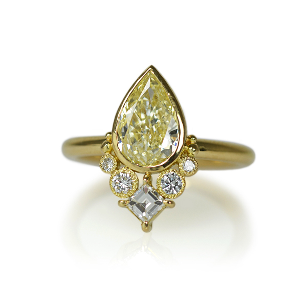 K18YG製イエローゴールドペアシェイプダイアモンドリング指輪オーダーメイドジュエリー加工ハンドメイドジュエリー