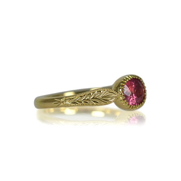 K18YG製イエローゴールドパパラチアパパラチャリング指輪彫り