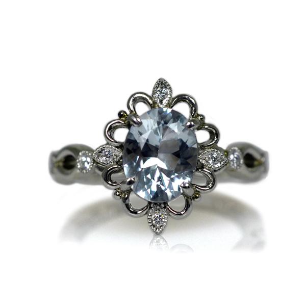 Pt900製プラチナ非加熱ブルートパーズダイアモンドリング指輪