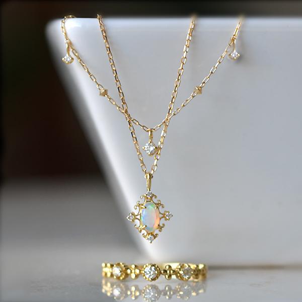K18YG製オパールダイアモンドペンダントネックレスリング指輪