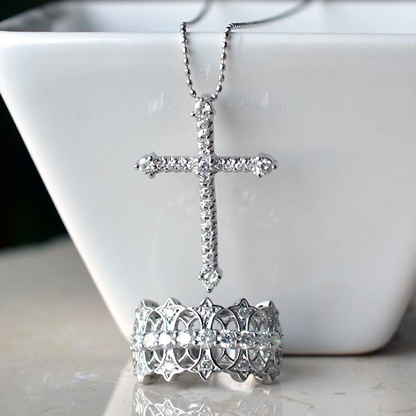 ダイアモンドクロスペンダントネックレスリング指輪