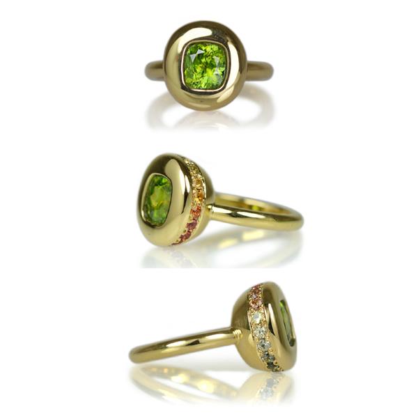 K18YG製スフェーンサファイアリング指輪
