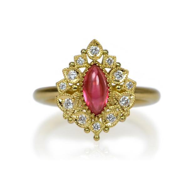 K18YG製イエローゴールドロードナイトダイアモンドリング指輪