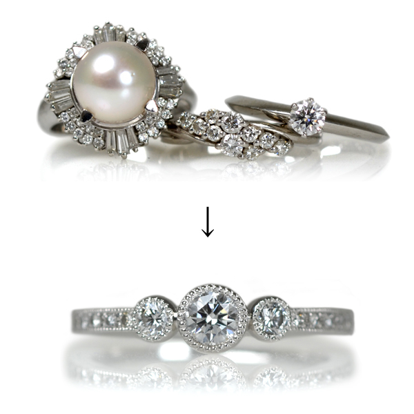 ダイアモンドリングエンゲージリング婚約指輪作り変えリメイクリフォームオーダーメイドジュエリー加工